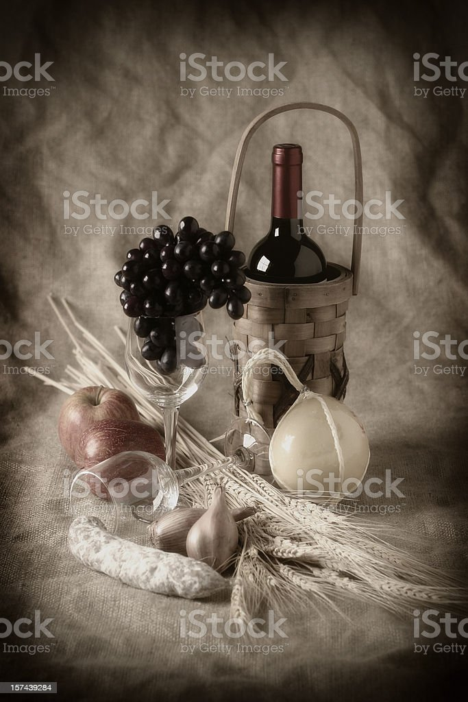Harvest Still Life with Wine royalty-free stock photo