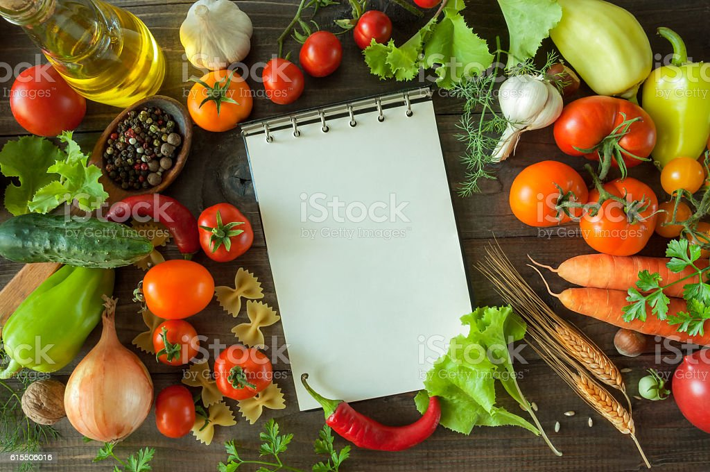 harvest vegetables  on wooden background stock photo