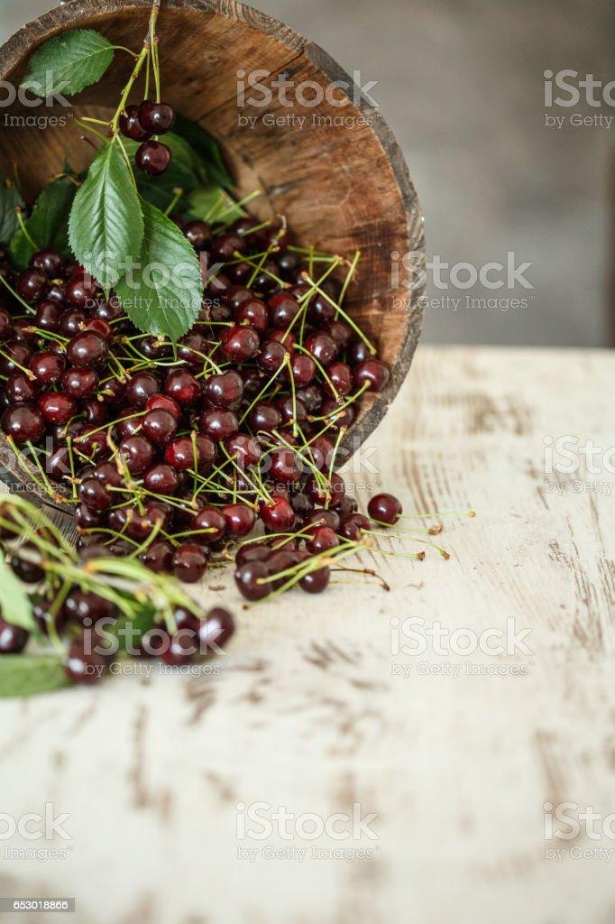 Harvested cherries in wooden bucket stock photo