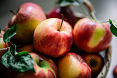 istock Harvested red apples in a basket 1255426019