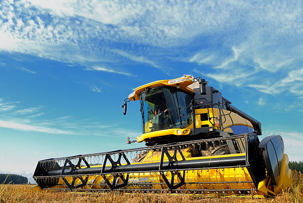 harvesting combine in the field  agricultural machinery stock pictures, royalty-free photos & images
