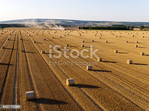 istock Harvesting on grainfield from above, Germany 840770386