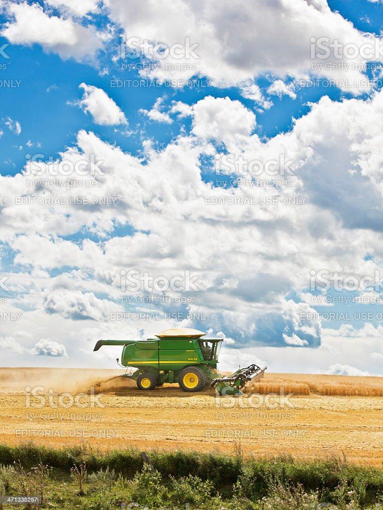 Harvesting Wheat in Prairies Canada stock photo