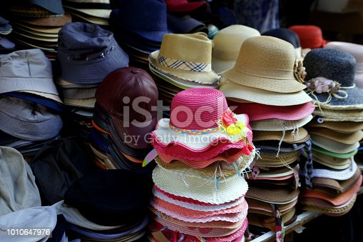 Men's and women's hats in the hat shop
