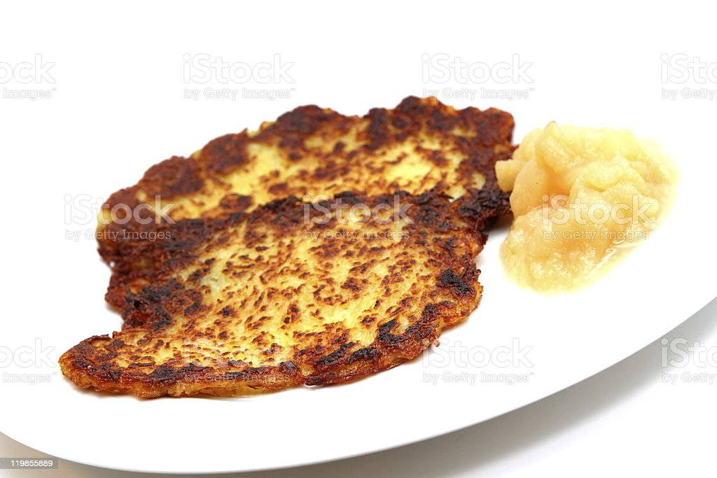 hash browns with apple puree stock photo