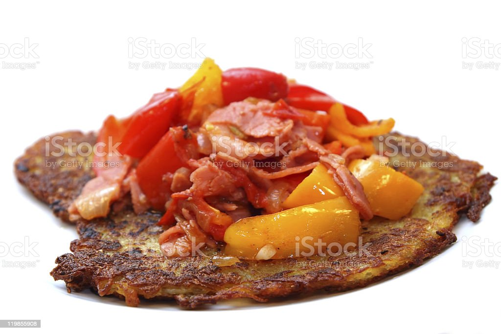 hash browns with paprika and ham stock photo