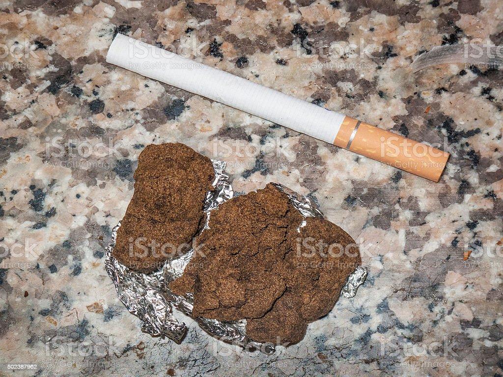 hashish marijuana cannabis pollen resin in lebanon stock photo