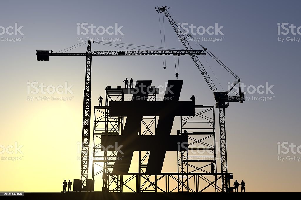Hashtag construction site stock photo