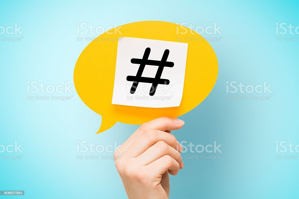 Hashtag post viral web network media tag business. - foto stock