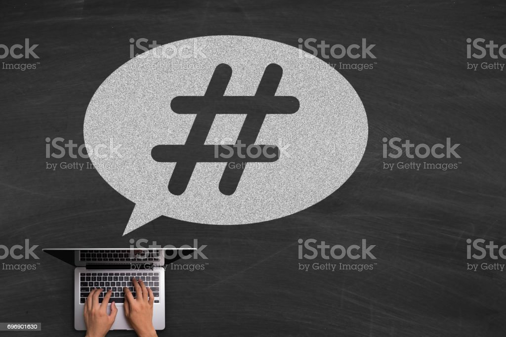 Hashtag post viral web network media tag business stock photo