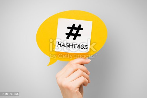 istock Hashtag post viral web network media tag business. 815186164