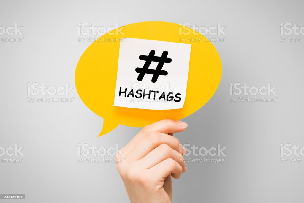 Hashtag post viral web network media tag business. stock photo