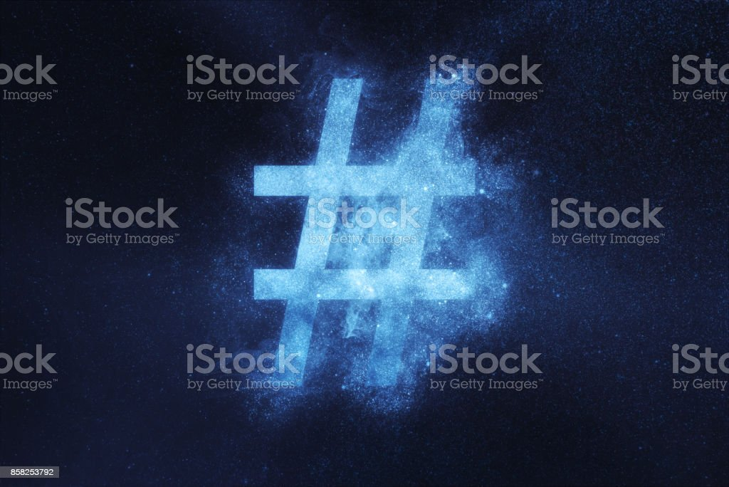 Hashtag sign, Hashtag symbol. Abstract night sky background stock photo