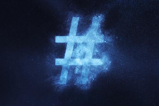 Signo De Hashtag Hashtag Símbolo Fondo De Cielo De Noche Resumen Foto de stock y más banco de imágenes de Abstracto