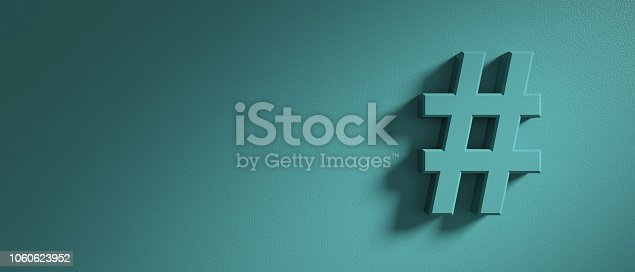Hashtag sign on pastel green wall background, banner, copy space. 3d illustration