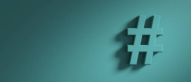 hashtag sign on green wall background, banner, copy space. 3d illustration - messaggistica online foto e immagini stock