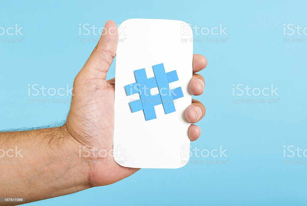 Hashtag symbol / trending topic / on white mobile card concept stock photo