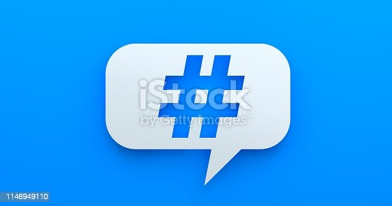 istock Hashtag. White Chat Bubble On Blue Background 1146949110