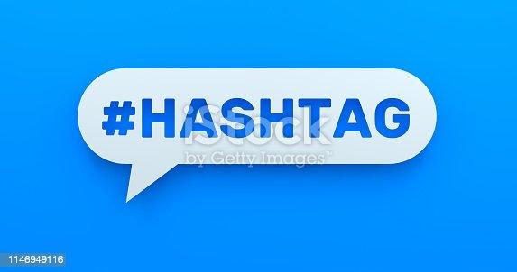1146949110istockphoto Hashtag. White Chat Bubble On Blue Background 1146949116