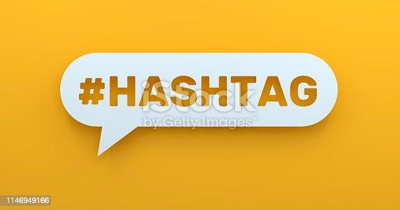 1146949110istockphoto Hashtag. White Chat Bubble On Yellow Background 1146949166