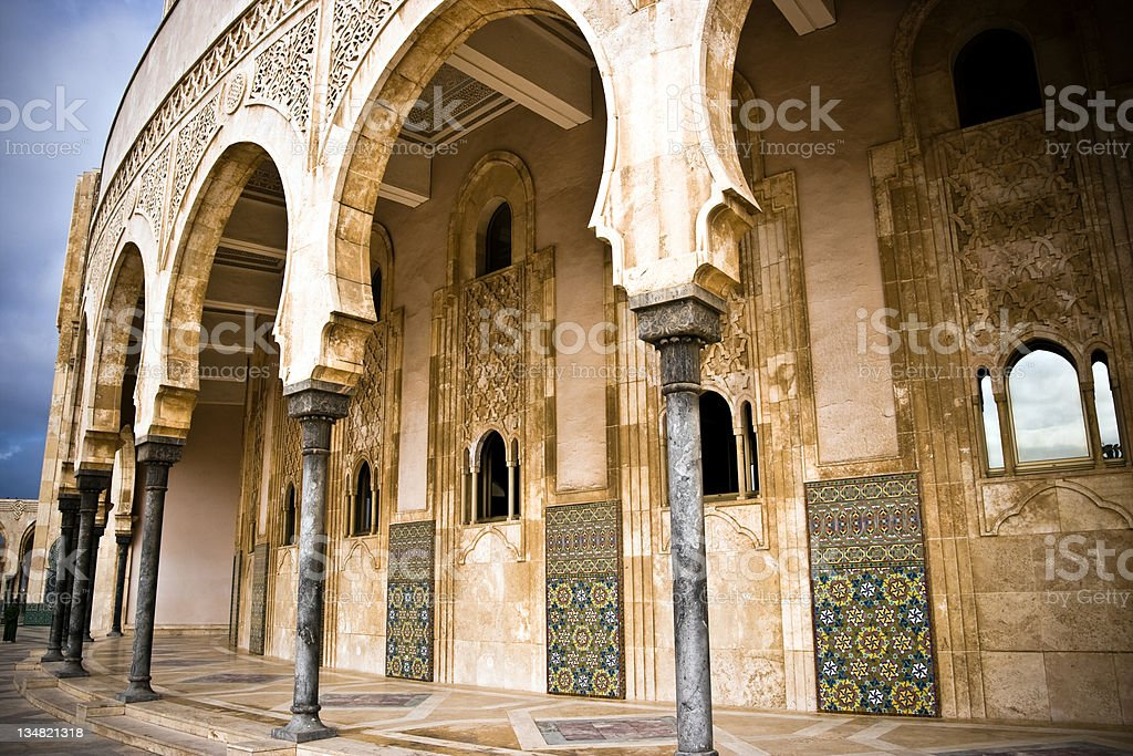 Hassan II Mosque, Arabic Architecture in Casablanca, Morocco royalty-free stock photo