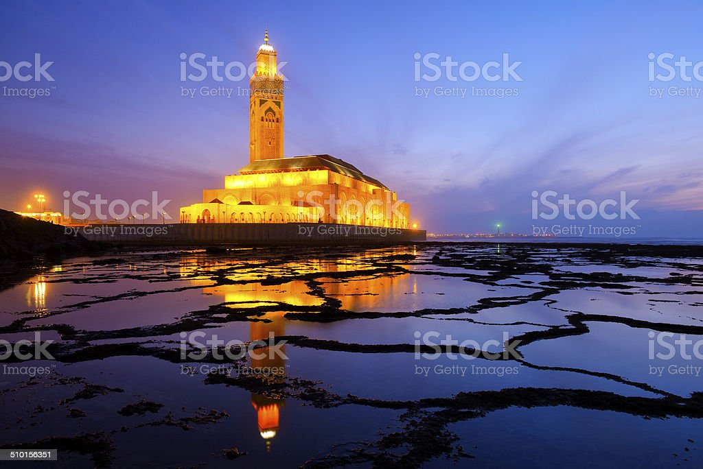 Hassan II mosque at night stock photo