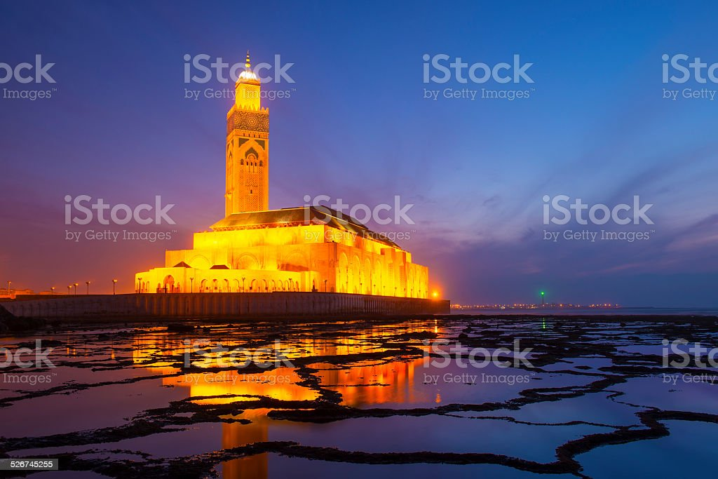 Hassan II Mosque during the sunset in Casablanca, Morocco stock photo