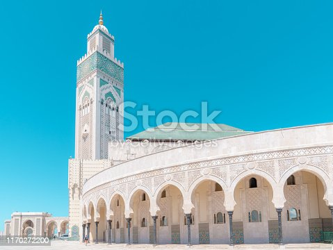 Hassan II Mosquein cloudless sunny day