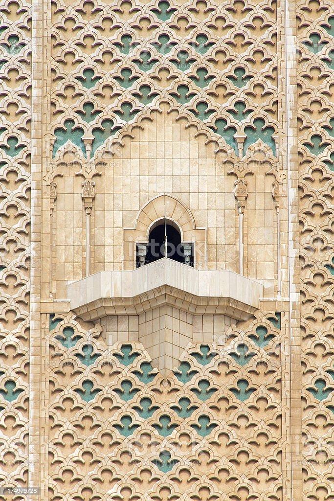 Hassan II Mosque- minaret detail royalty-free stock photo