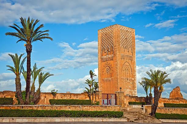 hassan tower in rabat morocco africa - rabat marocko bildbanksfoton och bilder