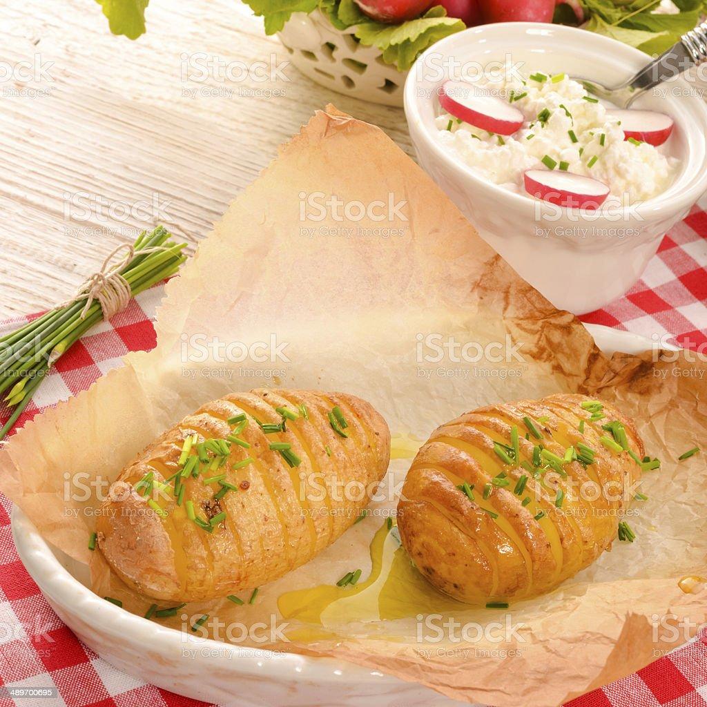 hasselback potato royalty-free stock photo