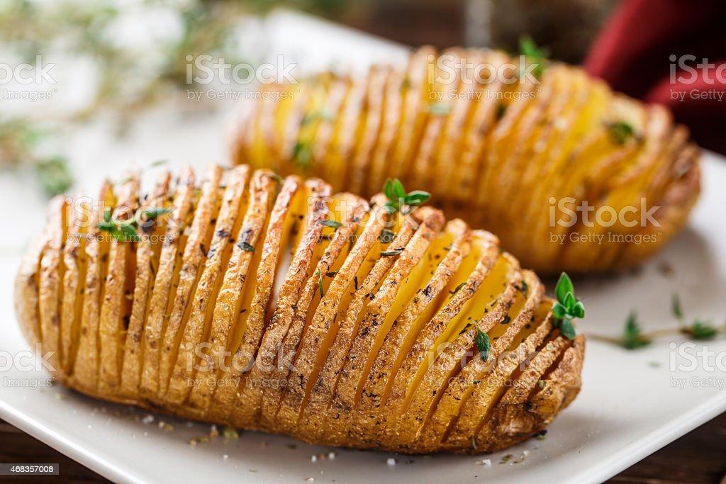 Hasselback potatoes royalty-free stock photo