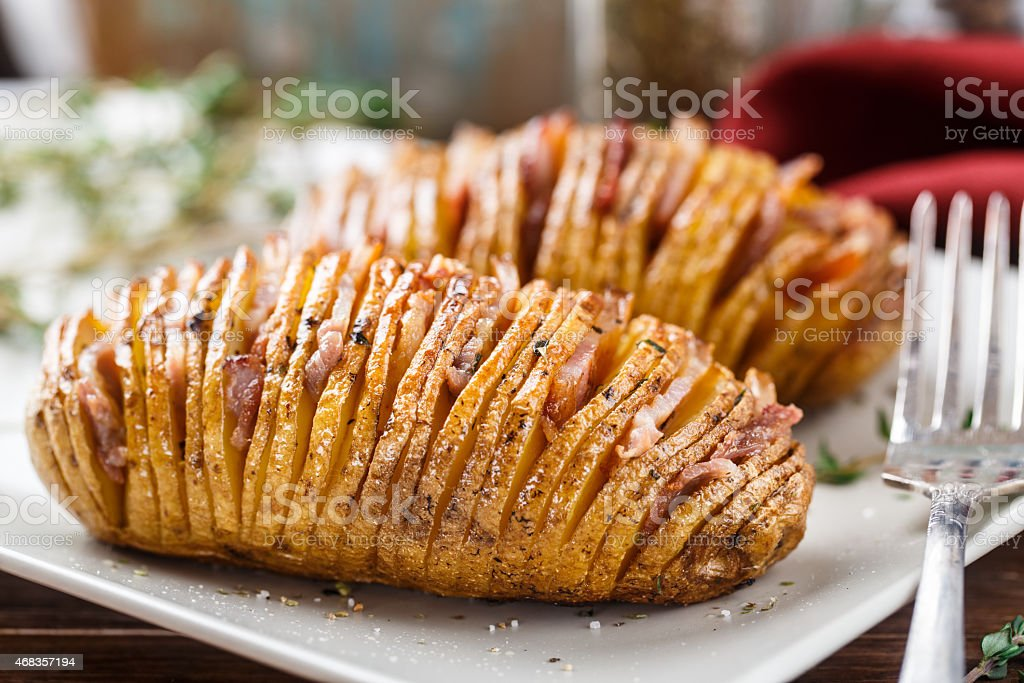 Hasselback potatoes royalty-free stock photo