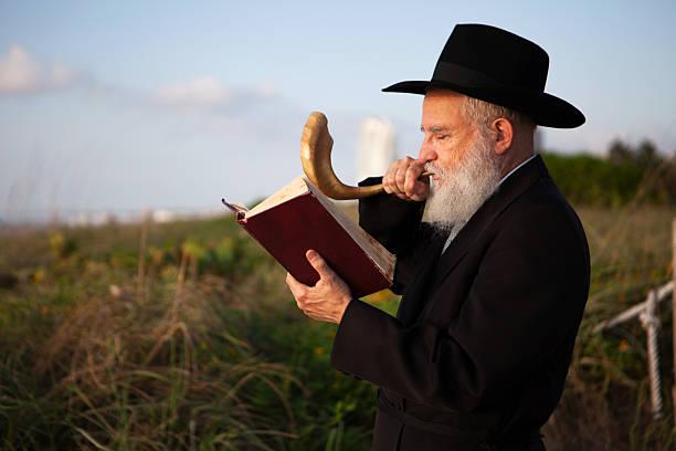 Hassidic Rabbi Praying stock photo