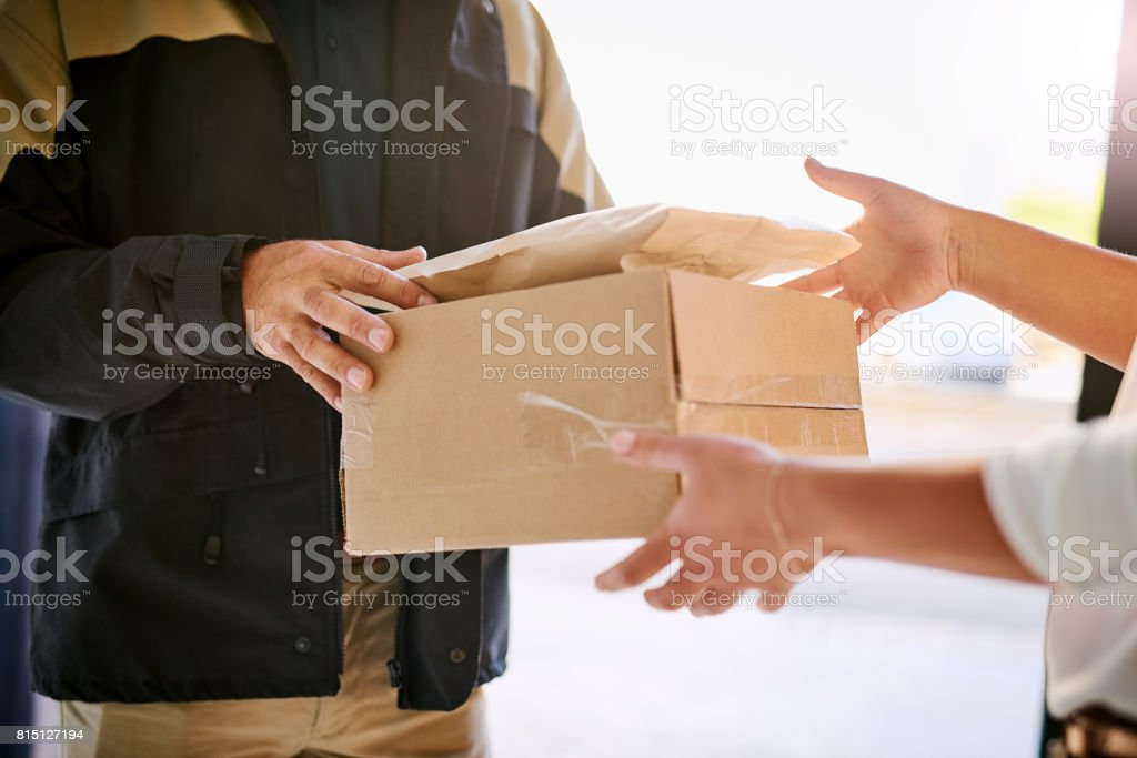 Hassle-free door-to-door delivery stock photo