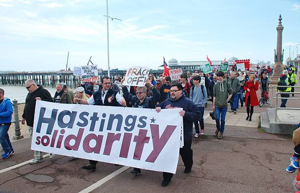 Hastings anti austerity march stock photo