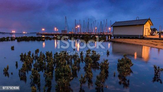 At dawn on the Mornington Peninsula near Hastings pier and marina.