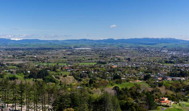 Hastings viewed from Te Mata Peak stock photo