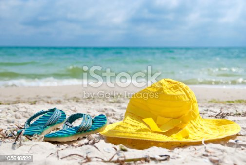 istock Hat and flip-flop 105646522