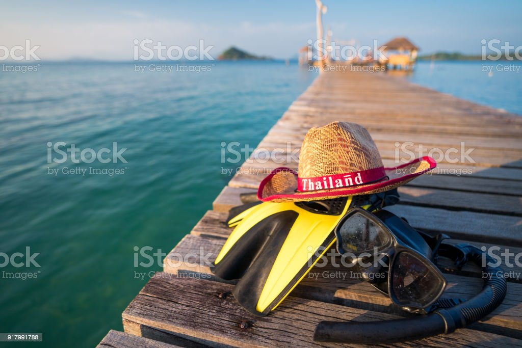 Hat, Fin and snorkeling mask for travel in Thailand sea stock photo