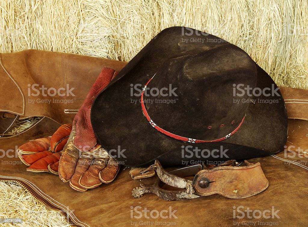 Hat, gloves and spurs royalty-free stock photo