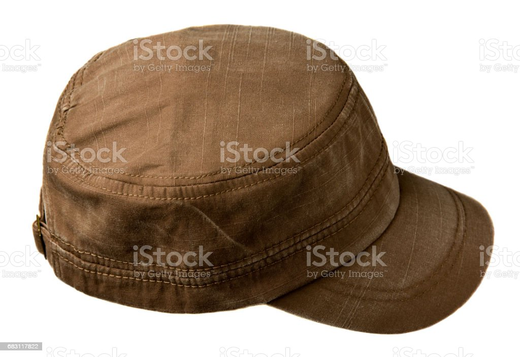 hat isolated on white background. Hat with a visor .brown hat stock photo