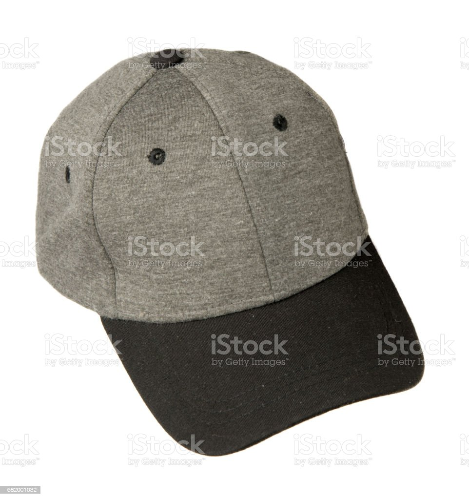 hat isolated on white background. Hat with a visor . gray hat stock photo