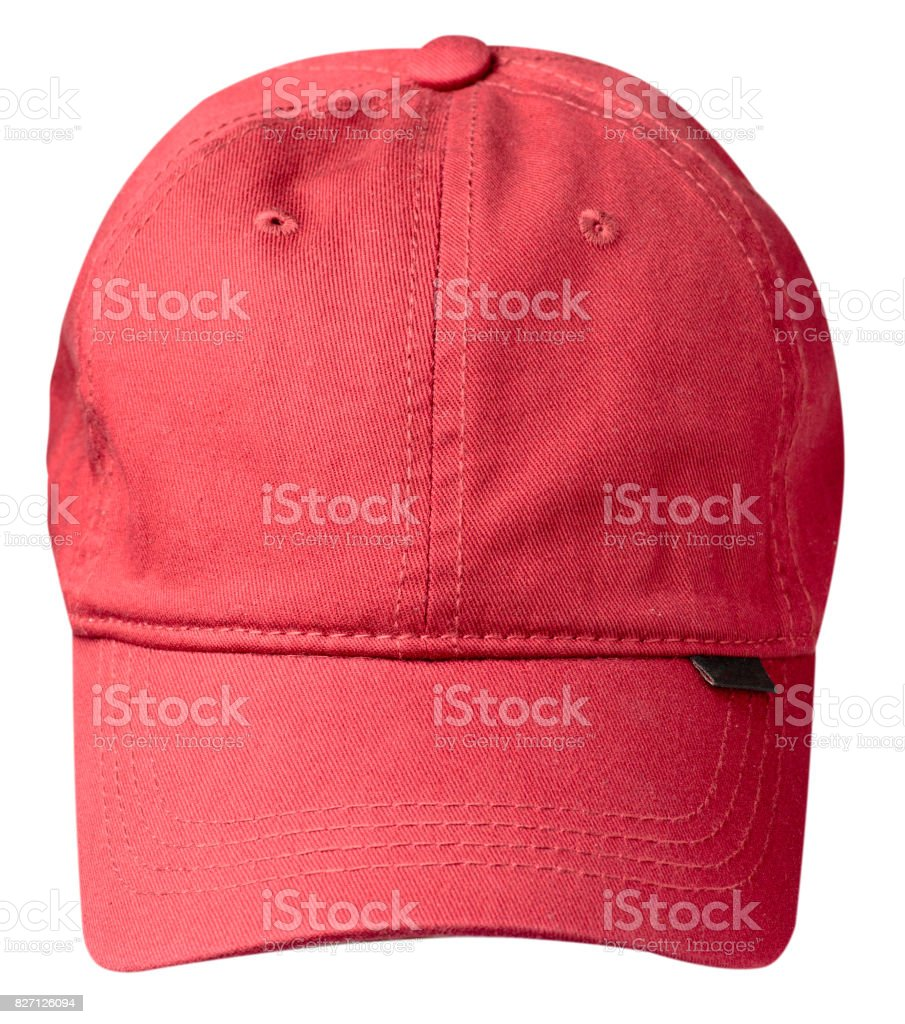 hat isolated on white background. Hat with a visor . red hat stock photo