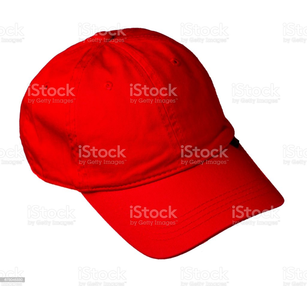 hat isolated on white background. Hat with a visor.red hat stock photo