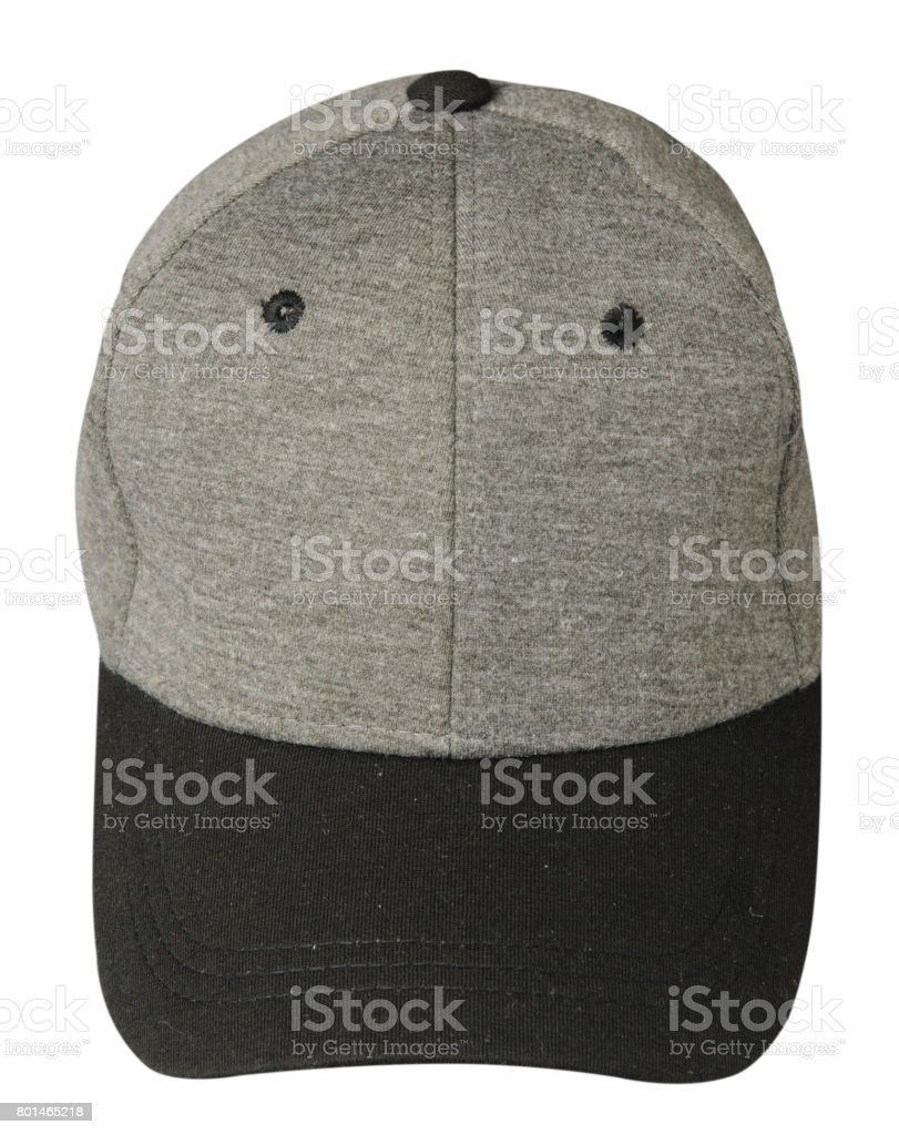 hat isolated on white background. Hat with black visor.gray hat stock photo