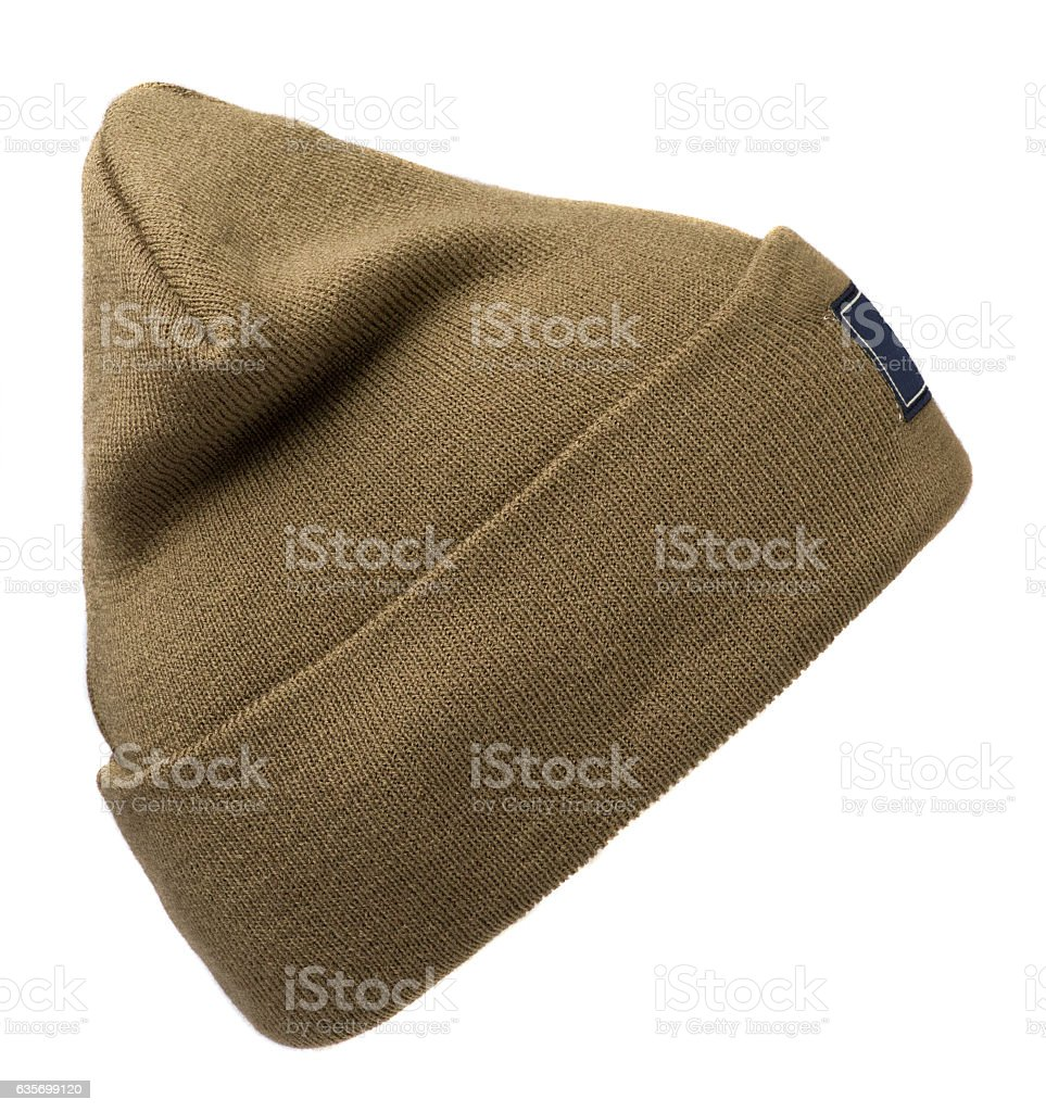 hat isolated on white background .knitted hat .beige . royalty-free stock photo