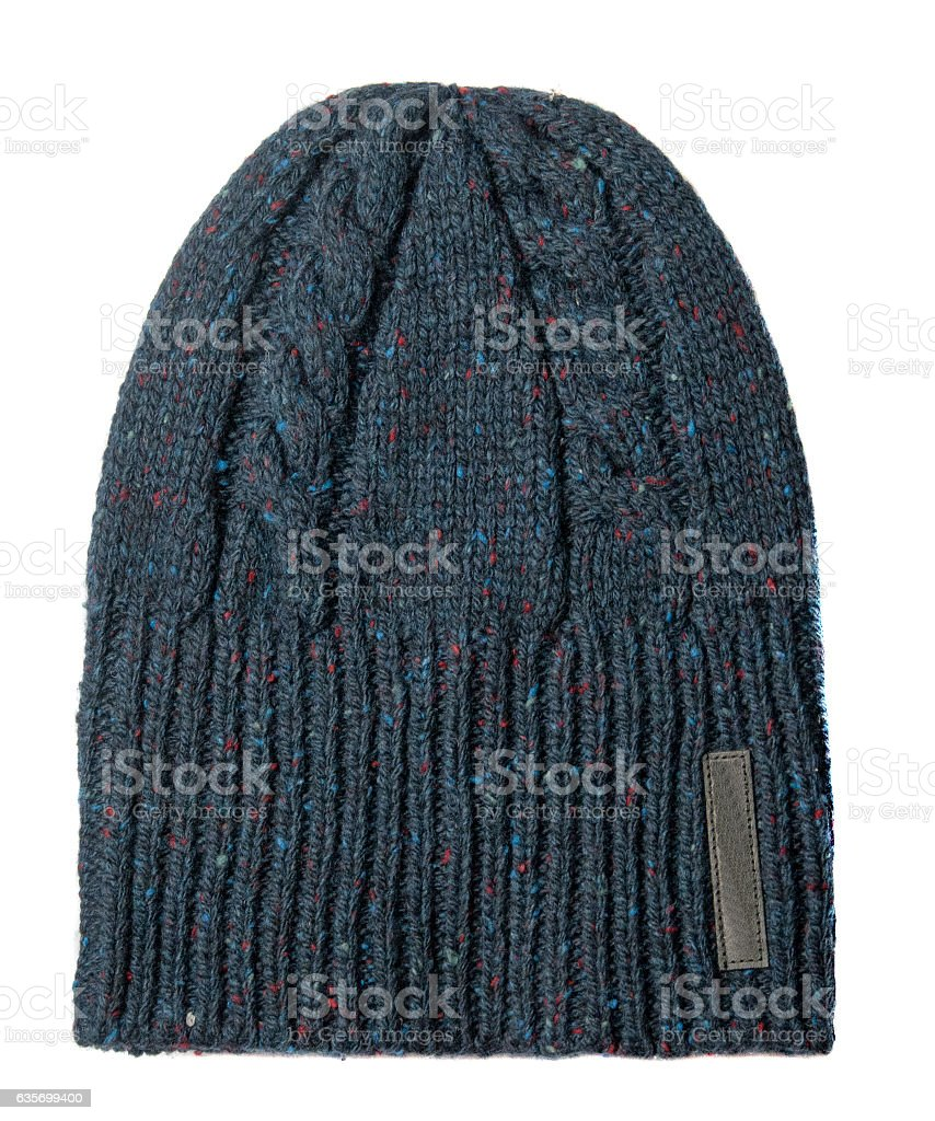 hat isolated on white background .knitted hat .blue hat . royalty-free stock photo