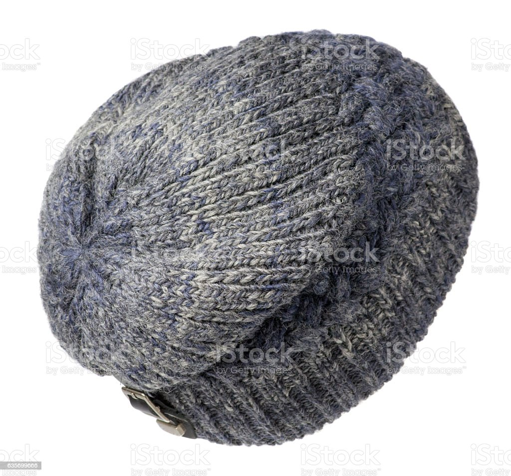 hat isolated on white background .knitted hat .blue speckled h royalty-free stock photo