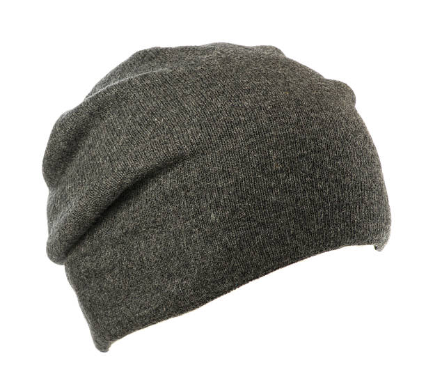 hat isolated on white background .knitted hat .gray hat. stock photo